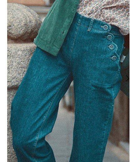 Jeans à pont festonné en coton biologique - émile et ida - merci léonie