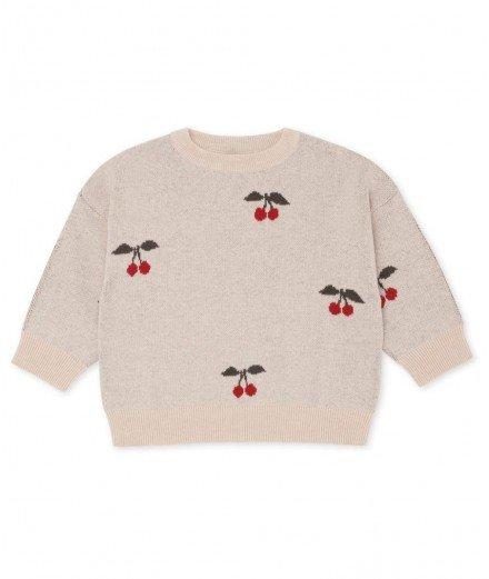 Pull pour enfant en jacquard Lapis cherry