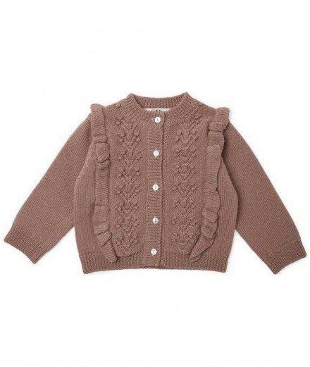 Gilet pour enfant en laine de mérinos Fiol de la marque Konges Slojd - Couleur Vieux rose