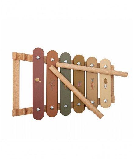 Xylophone en bois Dax - Fleurs et champignon