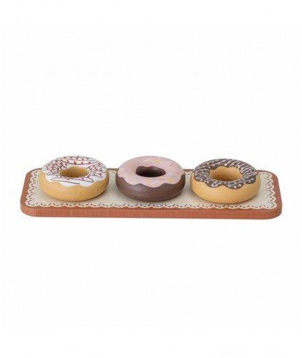 Set de trois donuts en bois et leur plateau miniature