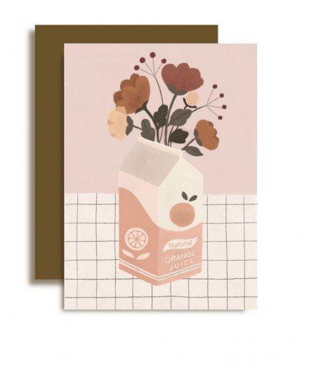 Carte postale avec enveloppe - Jus de fleurs