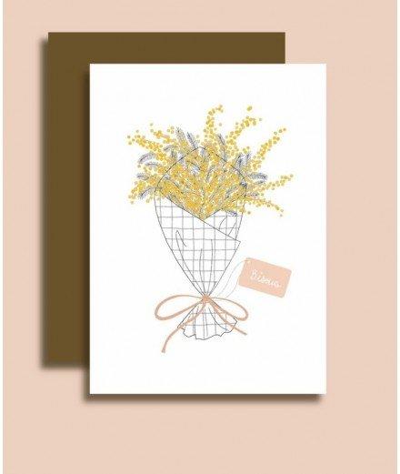 Carte postale avec enveloppe - Bisous bouquet de mimosa - bisous - merci léonie