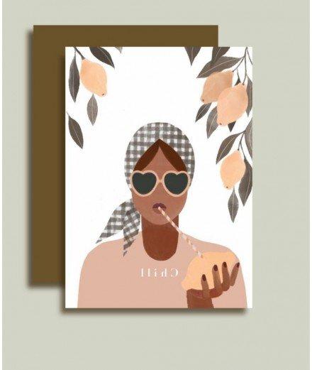 Carte postale avec enveloppe - Chill - minimel - merci léonie