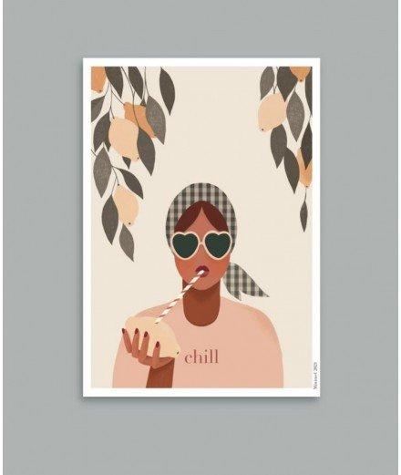 Affiche format A4 - Chill - minimel -merci léonie