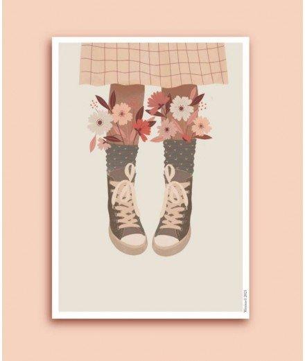 Affiche format A4 ou A3 - Baskets fleuries - minimel - merci léonie