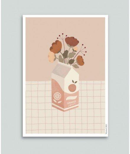 Affiche format A4 - jus de fleurs - minimel -merci léonie