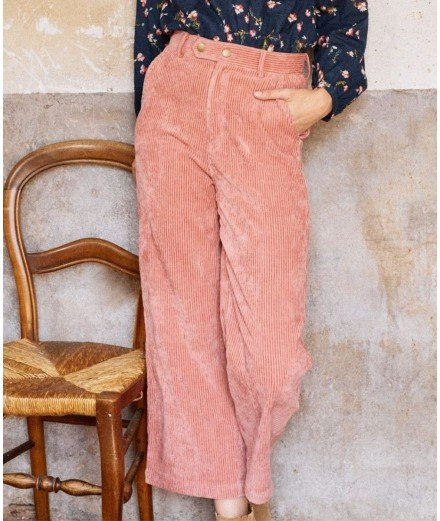 Pantalon en velours côtelé Klay - Rose
