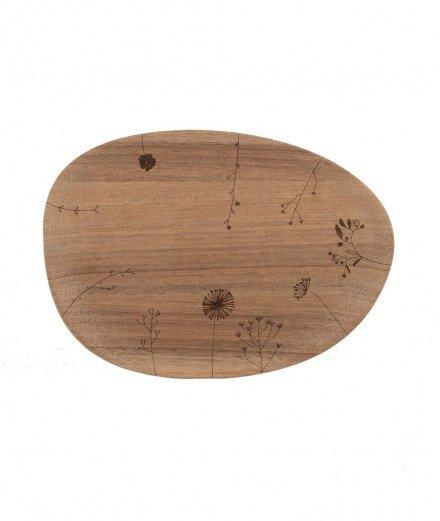 Petit plateau en bois d'acacia délicatement gravé de petites fleurs. De la marque de décoration Räder.