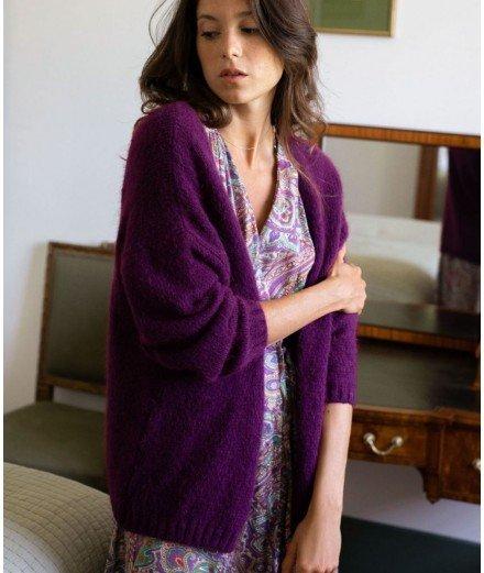 Gilet en laine et mohair Malona - Violet - la petite étoile - merci léonie