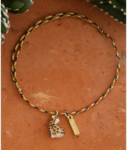 Bracelet fil torsadé charm's - Léopard porcelaine - nach bijoux - merci léonie