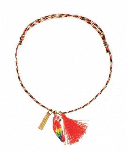 Bracelet fil torsadé charm's - Perroquet rouge