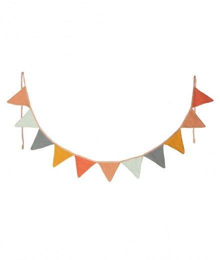 Guirlande de fanions multicolores en coton et en lin de la marque Maileg.