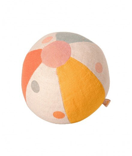Petite balle avec grelot en coton lin de la marque Maileg.