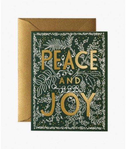 Carte de Noël - peace and joy Evergreen