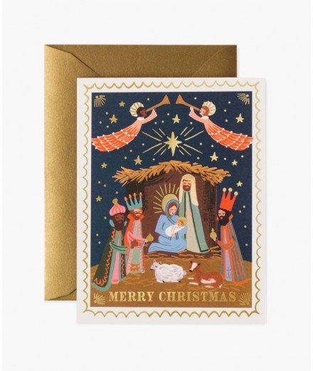 Carte de voeux - Merry Christmas Crèche