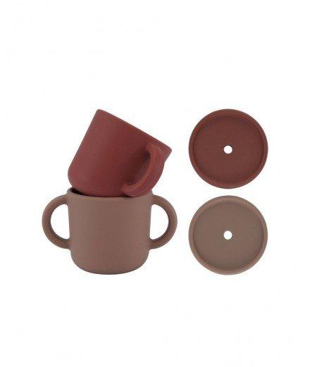 Set de deux gobelets en silicone et leur couvercle pour paille - Argile & Vintage