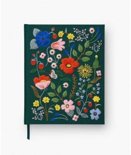 Sketchbook - Tissu fleurs brodées Strawberry Fields