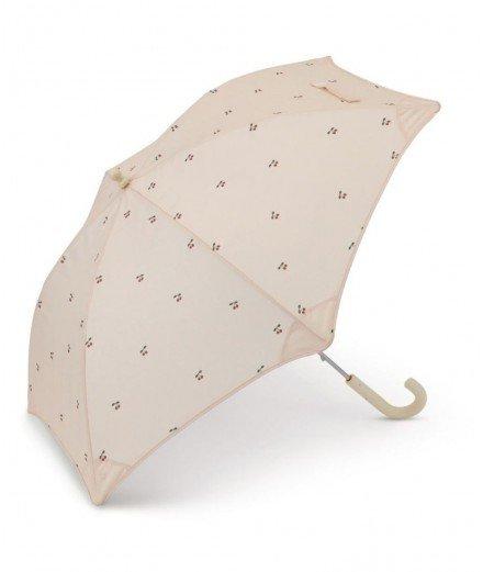 Parapluie pour enfant de la marque Konges Slojd. Avec de jolies cerises en motif. Fabriqué à partir de bouteilles recyclées.