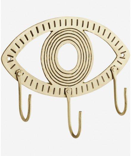 Patère en laiton en forme d'oeil de la marque de décoration bohème Madam Stoltz.