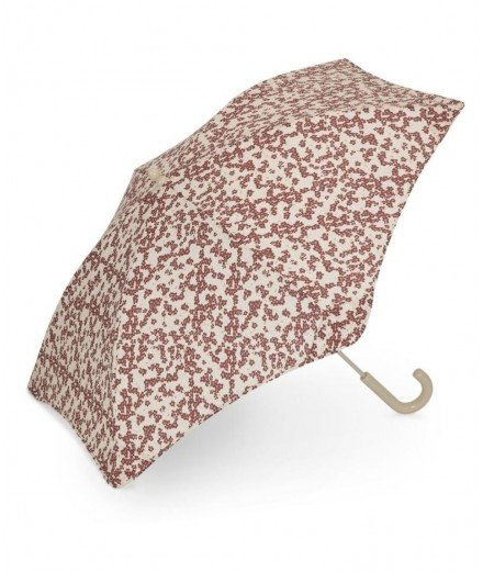 Parapluie pour enfant modèle à canne de style rétro, de la marque scandinave Konges Slojd, toile fleurie Winter leaves dark red