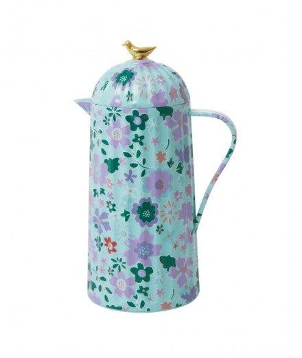 Pichet thermos capacité 1L de la marque danoise Rice, modèle imprimé fleuri Fall Floral Mint, conserve au chaud et au frais pend