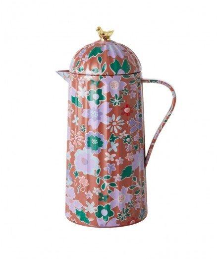 Pichet thermos 1L modèle Fall Floral Marron de la marque rice en mélamine