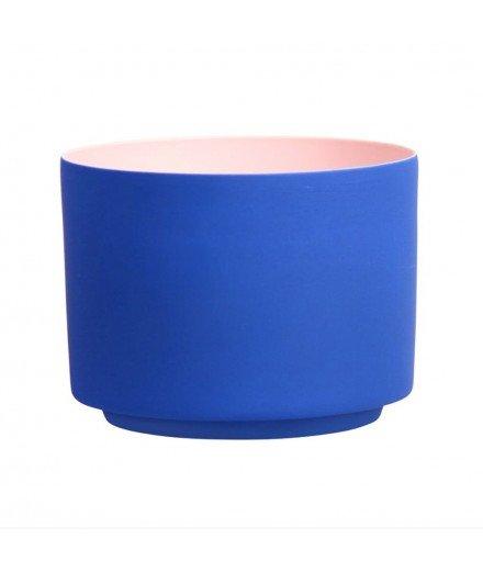 Photophore en porcelaine - bleu et rose