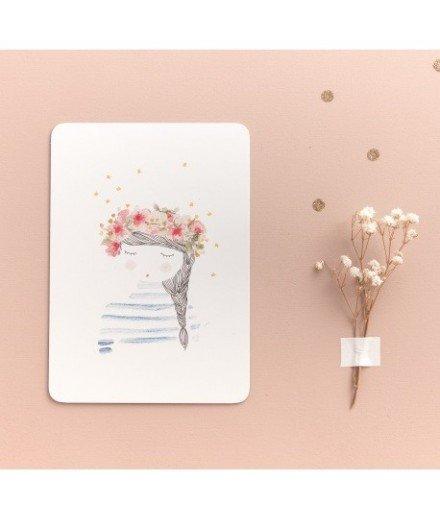 Carte postale La fille aux fleurs