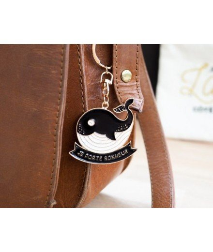 "Porte-clés Baleine ""Je porte bonheur"""