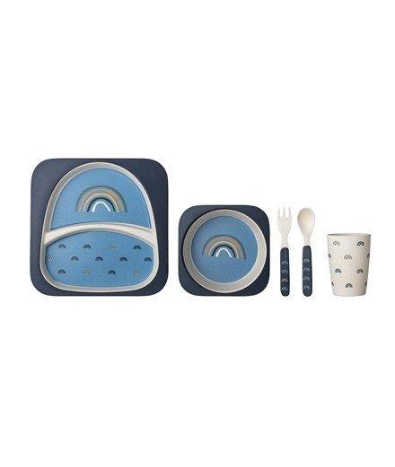 Set de vaisselle en bambou Arc-en-ciel - Bleu