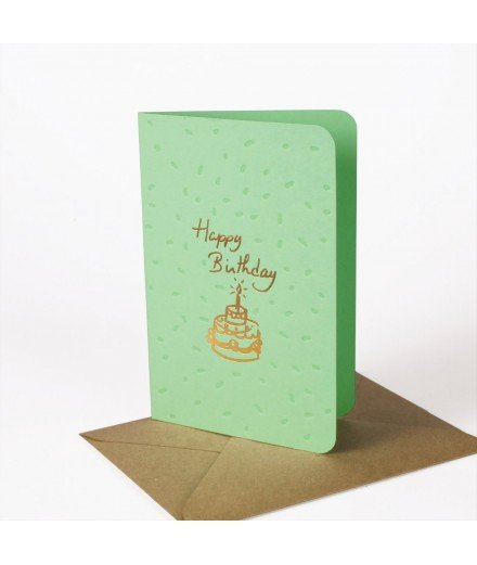 Carte Happy Birthday - Menthe