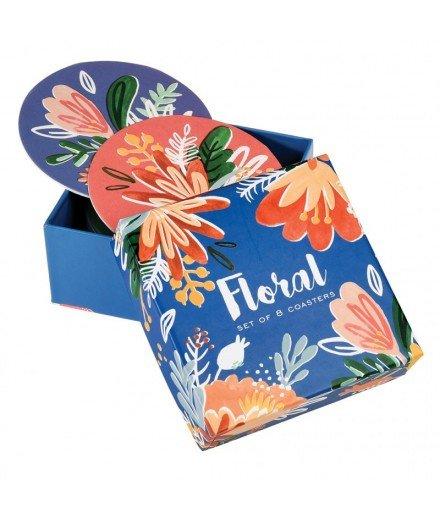 Set 8 dessous de verre Floral