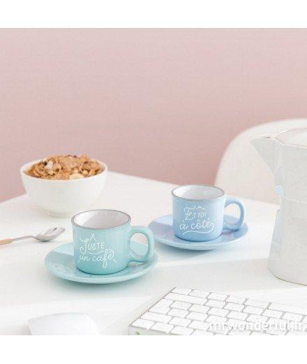 Set de 2 tasses à expresso - Juste un café et toi à côté