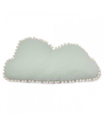 Coussin nuage Marshmallow pompons - Aqua