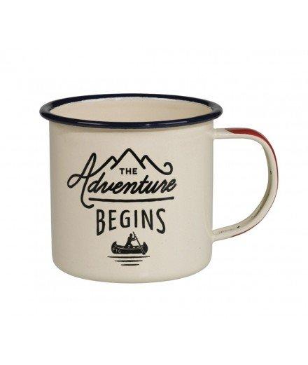 "Mug émaillé ""Adventure Begins"" Bleu"