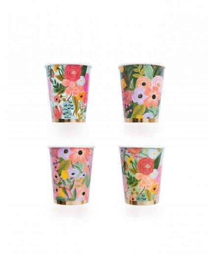 12 gobelets en carton - fleurs