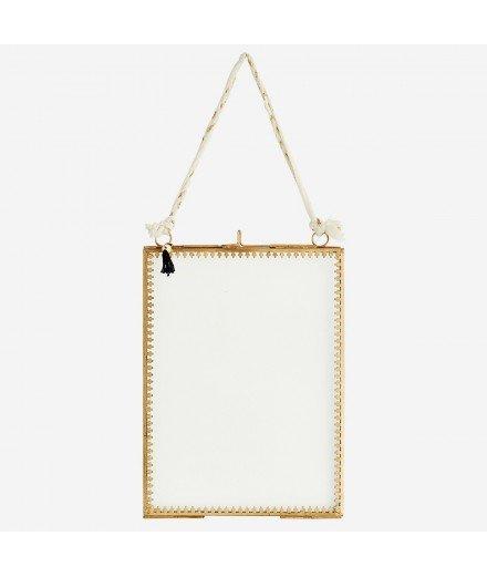 Cadre photo lien tissu blanc et doré - Format Portrait