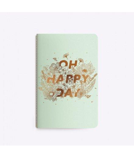 """Carnet """"Oh Happy Day"""" - Vert et bronze"""