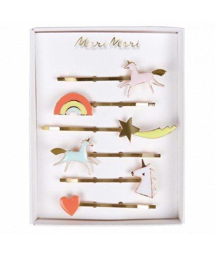 Set de barrettes - Licorne, arc-en-ciel, étoile filante et coeur